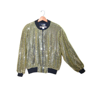Vintage Bomber Jacket Gold Bomber Jacket Sequin Bomber Jacket 80s Gold Sequin Jacket