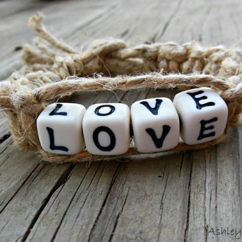 Hemp Bracelet Love Beaded Macrame For Women Square Knot