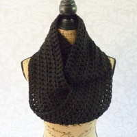 Infinity Scarf Crochet Knit Large Wide Black Women's Accessories Eternity Fall Winter