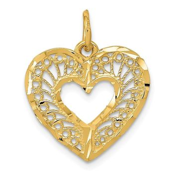 14k Yellow Gold Diamond Cut Filigree Heart Charm or Pendant, 17mm