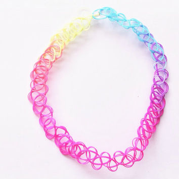 90s Vintage Classic Grunge Double Threaded Multicolor Pastel Rainbow Tattoo Choker