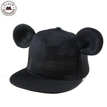 New cute mouse ear hat girls summer mesh hat hip hop Snapback hat for women cute mouse hats mickey Baseball Caps