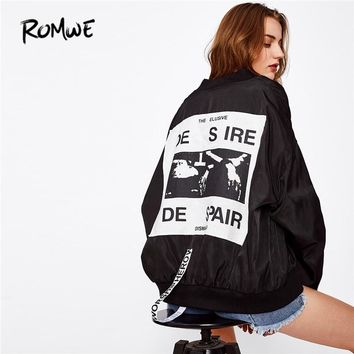 ROMWE Patch Back Ribbon Detail Oversized Bomber Jacket Women Stand Collar Zipper Letter Jackets Loose Spring Women Coat