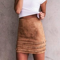 Retro Tassel Suede Leather Skirt