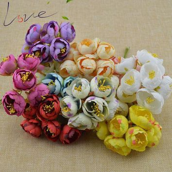 ESBONHS 6pcs Silk Big Rose Bud Artificial Flower Bridal Bouquet Headdress Brooch Artificial Decoration diy Wreath Material