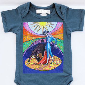 Retro Baby romper shirt Denim Blue Skeleton Matador printed creeper Dia de los Muertos kid clothes. Trendy punk children 3, 6, 12, 18 months