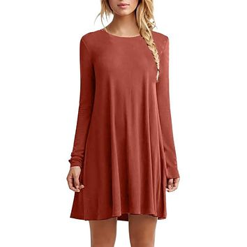 Women Casual Solid Color Plain Long Sleeve O-Neck Tunic Brief Loose Mini Party Dress Girls Dress New Sale