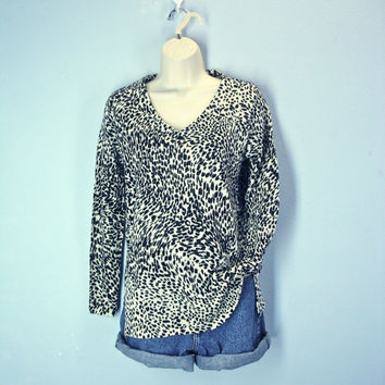 80s Leopard Cheetah Slouchy Sweater