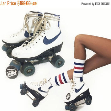 SUMMER SALE Vintage 1970's Rare Original Leather NIKE Disco Derby Roller Skates || 70s Women's Roller Derby Blue And White Roller skates ||