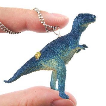 T-Rex Tyrannosaurus Dinosaur Shaped Pendant Necklace in Blue | Animal Jewelry