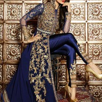 Malaika Royal Blue and Gold Embroidered Anarkali Pant Suit