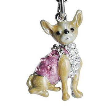 Lilly Rocket Yellow and Pink Enamel Chihuahua Bling Key Chain with Swarovski Crystals