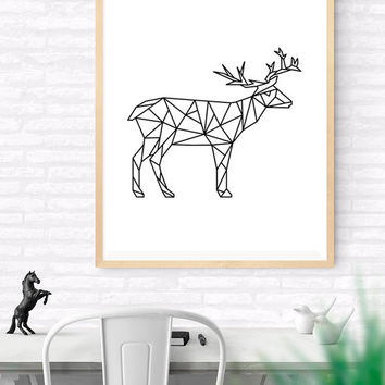 Geometric Reindeer, Origami Art, Printable wall art, Geometrical Animal print, Deer Art Print, Modern Reindeer Art, Nursery kids Wall Art,