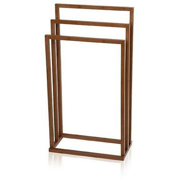 MV Bamboo Square Freestanding 3-Tier Towel Bathroom Rack Stand Bar Towel Holder