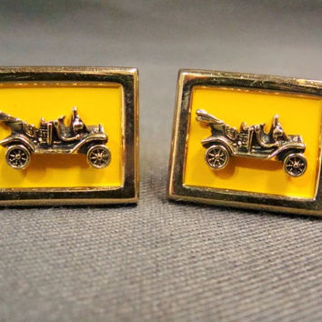 Vintage Swank Automobile Cuff Links  Yellow Enamel Goldtone Metal Old Classic Car