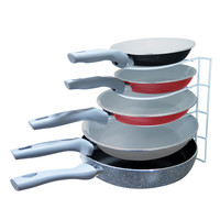 Evelots Pan Rack Organizer, White