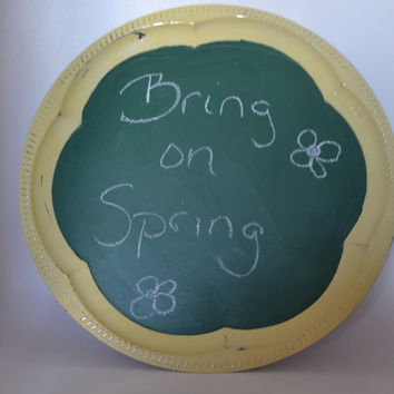 Upcycled Round Silver tray SUNNY yellow chalkboard paint home decor spring decor Large Round Tray
