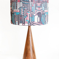 """Modern Lamp Shade - Free Shipping - 14"""" Drum - Teal and Fuchsia -  Deco City  - As seen in Australian """"Home Beautiful"""" Magazine"""