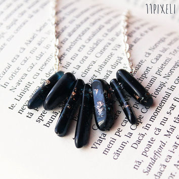 Black Resin necklace - Resin beads - Metallic Golden Flakes - Modern Necklace  Gift for her - Anniversary Gift - Unique