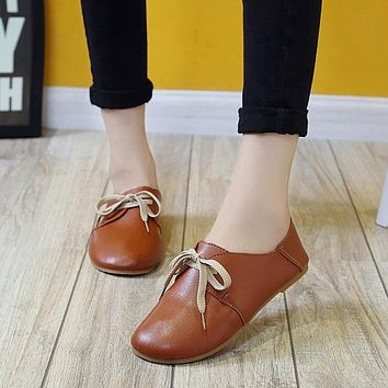 Shoes Women Casual Flats Shoes Artificial Leather Slip On Comfort Lace-Up Flat Shoes Loafers Zapatos Mujer 2017 Hot Sale