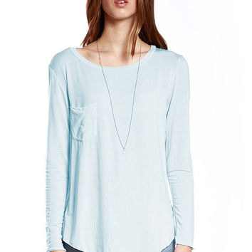 Long Sleeve Lazy T-Shirt - Light Blue