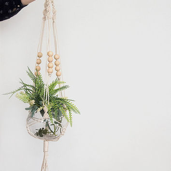 Natural macrame plant hanger, plant hanger, pot plant holder, plant hanging basket, rope pot planter, indoor planter, terrarium holder