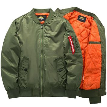 Mens Thick Army Green Military Motorcycle aviator Bomber Jacket