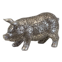 Urban Trends Collection 70500 Animal: Antique Silver Large Resin Pig