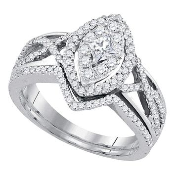14kt White Gold Women's Princess Diamond Oval Bridal Wedding Engagement Ring Band Set 7/8 Cttw - FREE Shipping (US/CAN)