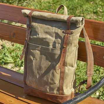 Waxed canvas backpack - Womens / Mens  backpack - Olive canvas leather backpack - Waxed canvas rucksack
