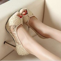 Vogue Sexy Lace Hollowed out Womens Shoes Stiletto High Heels Peep toe Pumps