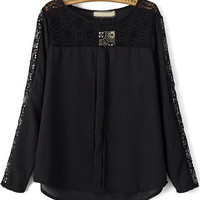 Black Round Neckline Lace Detailed Chiffon Blouse