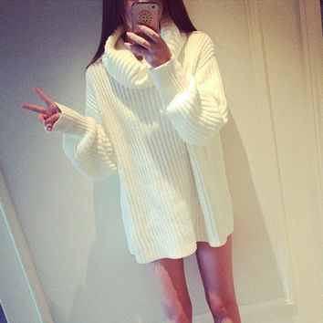 Sleeve High Shawl Collar Pullover Solid Color Sweater