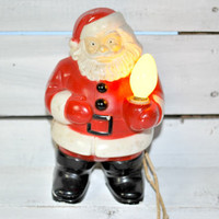 Santa Claus Figurine with Light , Christmas Ornament , Electrical Figurine , Home Decor