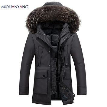 Winter Thicken Coat With Fur Collar Men Casual Hooded Down Jackets Men's Duck Down and Warm Snow Overcoat