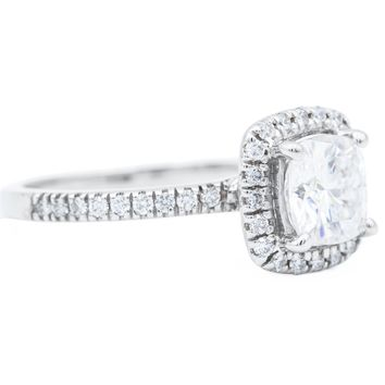 6.5mm Cushion Moissanite 14k White Gold Diamond Halo Under Bezel Engagement Ring 1.50 Carat Total Weight