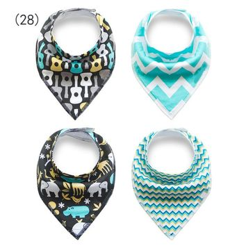 4pcs Baby Bibs Cotton Thicken Boys Girls Burp Cloths Newborn Babador Bandana Bibs for Babies Towel Toddler Triangle Out Scarf