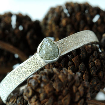Rough Diamond Engagement Ring Pave' Finish by DalkullanJewelry