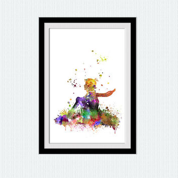 Little Prince watercolor poster The little prince print The Little Prince wall art Home decoration Kids room decor Nursery room art  W368