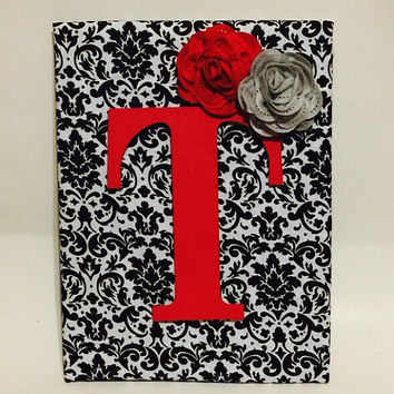 Monogrammed Canvas - Wall Art - Canvas Wall Art - Black Wall Hanging - Canvas Art - Wall Hanging - Monogram Letters - Flower Wall Art