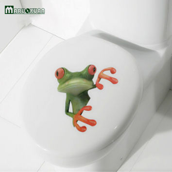Crazy DIY Frog Toilet Sticker Paste Smile Furniture Decorative Bathroom Wall Stickers 3D Personality Thermal Grease Home Decor