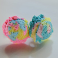 Scented cotton candy ice cream scoop earrings-Miniature food jewelry
