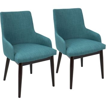 Santiago Mid-Century Modern Dining / Accent Chairs, Teal Fabric (Set of 2)