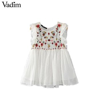 Vadim sweet floral embroidery pleated ruffled shirt cute sleeveless vintage doll blouse ladies summer casual tops blusas WT418