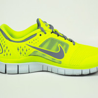 Nike Free Run +3 510643-702 Volt Stealth Platinum Womens Running Sneakers