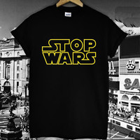Women T shirt STOP STAR WARS yellow Letters Print Casual Cotton Hipster tshirt For Lady Funny Top Tee Black Gray B-211