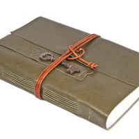 Large Olive Green Leather Journal with Skeleton Key Bookmark