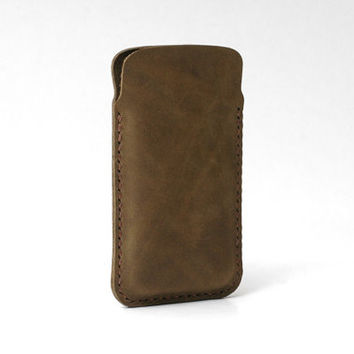 Leather Iphone 6s Case / Iphone 6 Sleeve / Iphone 6s Plus Case / Iphone 6 Plus / Personalized Cowhide, Handmade Hand-stitched, Rustic Brown