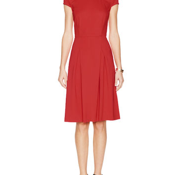 Ponte Cap Sleeve Fit and Flare Dress