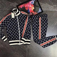 GUCCI Trending Women Stylish Long Sleeve Zipper Cardigan Jacket Coat Pants Sweatpants Two Piece Suit I/A